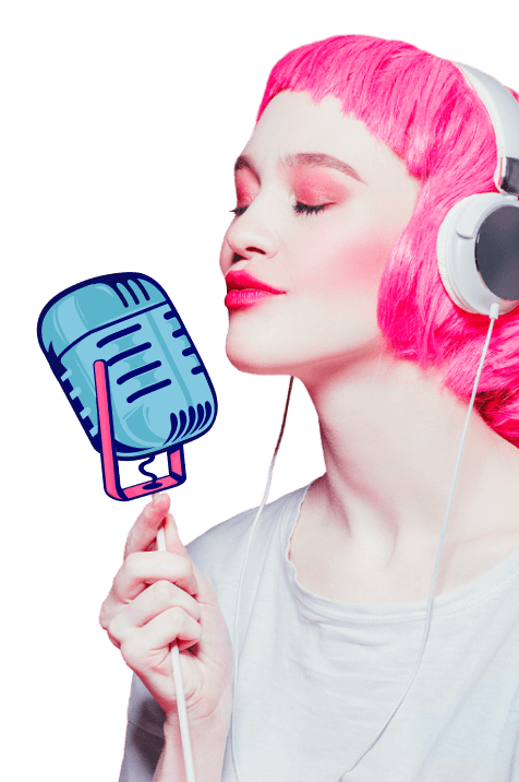 Image of a woman holding a microphone.
